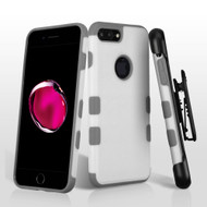 Military Grade Certified TUFF Merge Hybrid Armor Case with Holster for iPhone 8 Plus / 7 Plus - White Grey