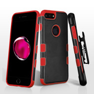 Military Grade Certified TUFF Merge Hybrid Armor Case with Holster for iPhone 8 Plus / 7 Plus - Black Red