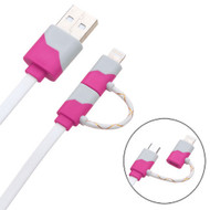 *SALE* Mybat 2-IN-1 Lightning and Micro USB Connector Charging & Sync Cable - Hot Pink White
