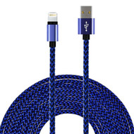 *SALE* Rugged Braided Lightning Connector to USB Charge and Sync Cable - Blue