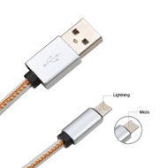 *SALE* Mybat 2-IN-1 Reversible Lightning and Micro USB Connector Charging & Sync Cable - White