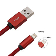 *SALE* Mybat 2-IN-1 Reversible Lightning and Micro USB Connector Charging & Sync Cable - Red