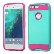 Brushed Hybrid Armor Case for Google Pixel - Teal Hot Pink
