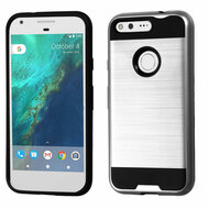 Brushed Hybrid Armor Case for Google Pixel - Silver