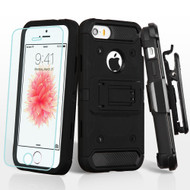 3-IN-1 Kinetic Hybrid Armor Case with Holster and Tempered Glass Screen Protector for iPhone SE / 5S / 5 - Black