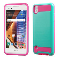 Brushed Hybrid Armor Case for LG Tribute HD / X Style - Teal Hot Pink