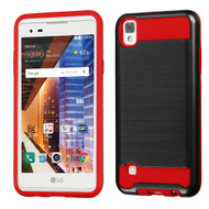 Brushed Hybrid Armor Case for LG Tribute HD / X Style - Black Red