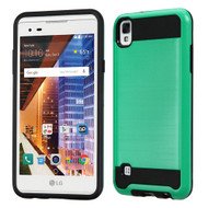 Brushed Hybrid Armor Case for LG Tribute HD / X Style - Teal