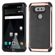 Electroplated Tough Anti-Shock Hybrid Case with Leather Backing for LG V20 - Black
