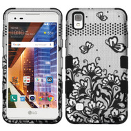 Military Grade TUFF Image Hybrid Armor Case for LG Tribute HD / X Style - Lace Flowers Black
