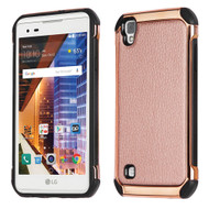 Electroplated Tough Anti-Shock Hybrid Case with Leather Backing for LG Tribute HD / X Style - Rose Gold