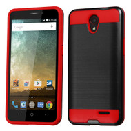 *SALE* Brushed Hybrid Armor Case for ZTE Avid Plus / Avid Trio / Maven 2 / Prestige / Sonata 3 - Black Red