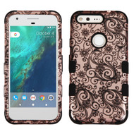 Military Grade Certified TUFF Image Hybrid Armor Case for Google Pixel - Leaf Clover Rose Gold