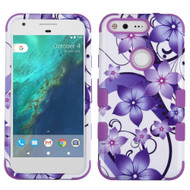 Military Grade TUFF Image Hybrid Armor Case for Google Pixel - Purple Hibiscus Flower Romance