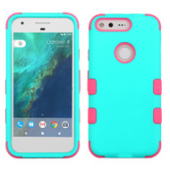 Military Grade TUFF Hybrid Armor Case for Google Pixel - Teal Hot Pink