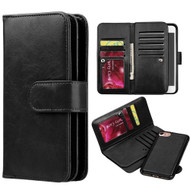 Luxury Timberland Series Double Flop Leather Wallet with Removable Magnet Case for iPhone 7 - Black