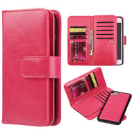 Luxury Timberland Series Double Flop Leather Wallet with Removable Magnet Case for iPhone 7 - Hot Pink