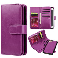 Luxury Timberland Series Double Flop Leather Wallet with Removable Magnet Case for iPhone 8 / 7 - Purple