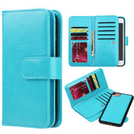Luxury Timberland Series Double Flop Leather Wallet with Removable Magnet Case for iPhone 8 / 7 - Blue