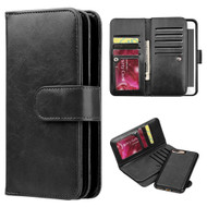 Luxury Timberland Series Double Flop Leather Wallet with Removable Magnet Case for iPhone 8 Plus / 7 Plus - Black