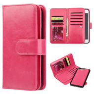 Luxury Timberland Series Double Flop Leather Wallet with Removable Magnet Case for iPhone 7 Plus - Hot Pink