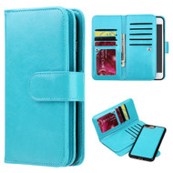 Luxury Timberland Series Double Flop Leather Wallet with Removable Magnet Case for iPhone 7 Plus - Blue