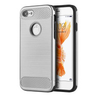 *Sale* Carbon Tech Brushed Multi-Layer Hybrid Armor Case for iPhone 7 - Silver