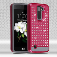 Luxury Bling Diamond Hybrid Case for LG K7 / Escape 3 / Treasure LTE / Tribute 5 - Hot Pink