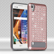Luxury Bling Diamond Hybrid Case for LG Tribute HD / X Style - Rose Gold