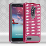 Luxury Bling Diamond Hybrid Case for ZTE Zmax Pro / Grand X Max 2 / Imperial Max / Max Duo 4G - Hot Pink
