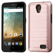 *Sale* Brushed Multi-Layer Hybrid Armor Case for ZTE Avid Plus / Avid Trio / Maven 2 / Prestige / Sonata 3 - Rose Gold