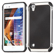 Chrome Tough Anti-Shock Hybrid Case with Leather Backing for LG Tribute HD / X Style - Black
