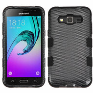 Military Grade TUFF Image Hybrid Armor Case for Samsung Galaxy Amp Prime / Express Prime / J3 / Sol - Carbon Fiber
