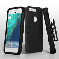 *SALE* Military Grade TUFF Hybrid Armor Case with Holster for Google Pixel - Black
