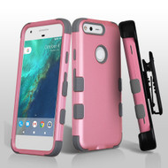 Military Grade Certified TUFF Hybrid Armor Case with Holster for Google Pixel - Pearl Pink Grey