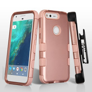 Military Grade TUFF Hybrid Armor Case with Holster for Google Pixel - Rose Gold