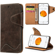 Executive Luxury Leather Wallet Case for iPhone 8 / 7 - Brown