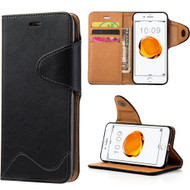 Executive Luxury Leather Wallet Case for iPhone 7 Plus - Black