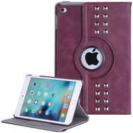 *SALE* Premium Retro Studded 360 Rotating Smart Leather Case for iPad Mini 4 - Burgundy