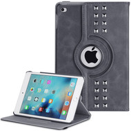 *SALE* Premium Retro Studded 360 Rotating Smart Leather Case for iPad Mini 4 - Steel Gray