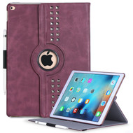 *SALE* Premium Retro Studded 360 Rotating Smart Leather Case for iPad Pro 12.9 inch - Burgundy