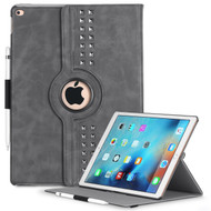 *SALE* Premium Retro Studded 360 Rotating Smart Leather Case for iPad Pro 12.9 inch - Steel Gray