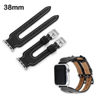 Genuine Leather Double Buckle Cuff Watch Band for Apple Watch 38mm - Black