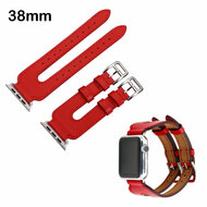 Genuine Leather Double Buckle Cuff Watch Band for Apple Watch 38mm - Red