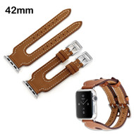 Genuine Leather Double Buckle Cuff Watch Band for Apple Watch 42mm - Brown