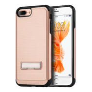 *Sale* Brushed Multi-Layer Hybrid Armor Case with Kickstand for iPhone 7 Plus - Rose Gold