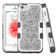 *Sale* TUFF Vivid Mini Crystals Hybrid Armor Case for iPhone SE / 5S / 5 - Silver