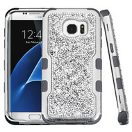 TUFF Vivid Mini Crystals Hybrid Armor Case for Samsung Galaxy S7 Edge - Silver