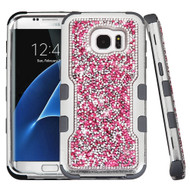 TUFF Vivid Mini Crystals Hybrid Armor Case for Samsung Galaxy S7 Edge - Pink
