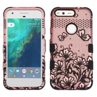 Military Grade Certified TUFF Image Hybrid Armor Case for Google Pixel XL - Lace Flowers Rose Gold
